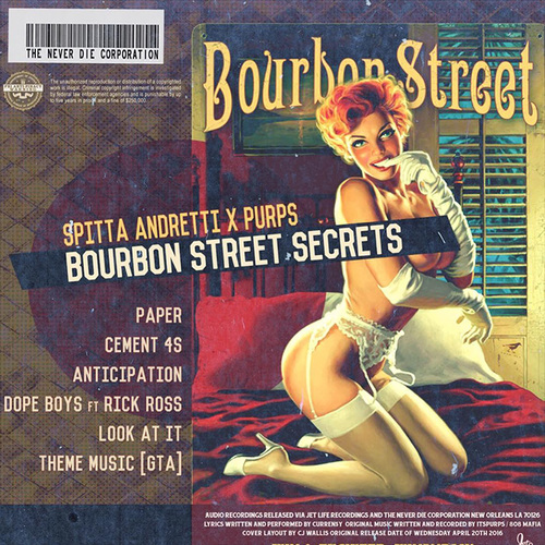 Curren$y & Purps (of 808 Mafia) - Bourbon Street Secrets EP Album Cover